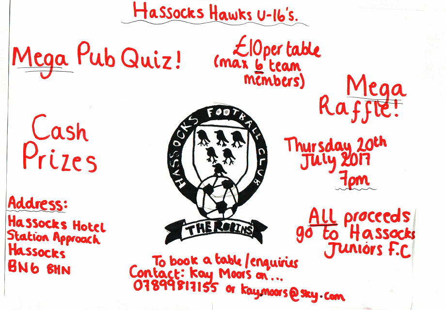 U16 Hawks Quiz Night – Thursday 20th July, 7PM @ The Hassocks